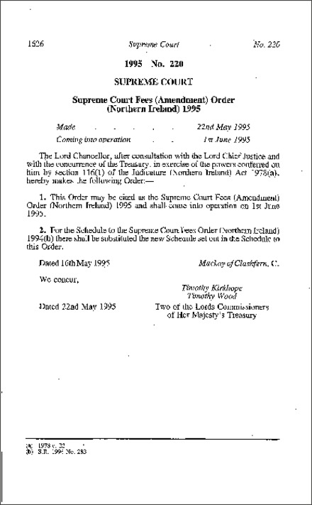 The Supreme Court Fees (Amendment) Order (Northern Ireland) 1995
