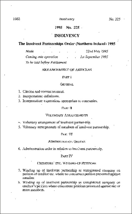 The Insolvent Partnerships Order (Northern Ireland) 1995