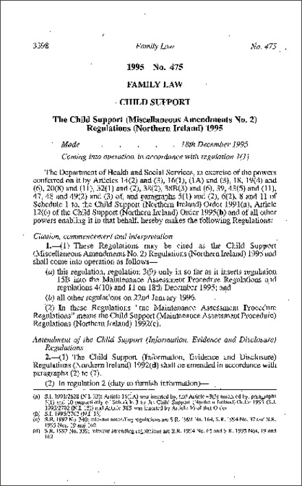 The Child Support (Miscellaneous Amendment No. 2) Regulations (Northern Ireland) 1995