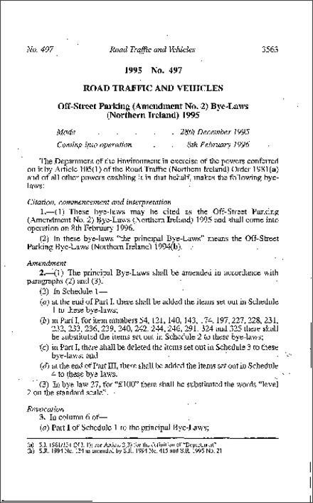The Off-Street Parking (Amendment No. 2) Bye-Laws (Northern Ireland) 1995