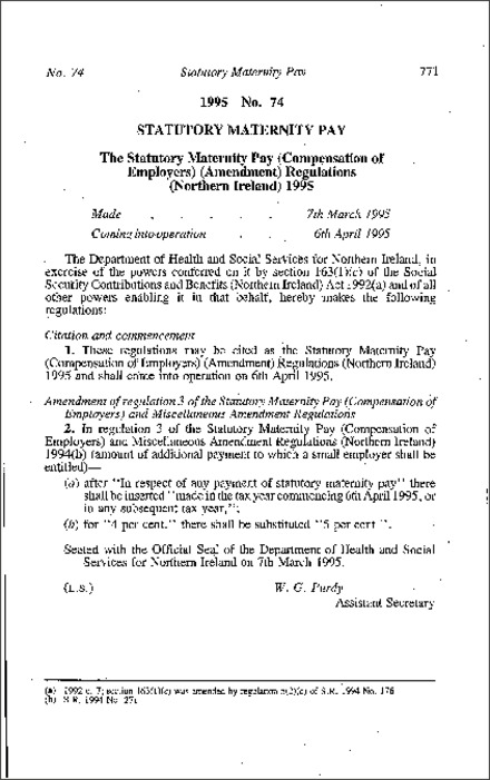 The Statutory Maternity Pay (Compensation of Employers) (Amendment) Regulations (Northern Ireland) 1995