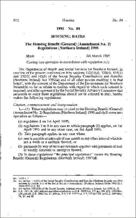 The Housing Benefit (General) (Amendment No. 2) Regulations (Northern Ireland) 1995