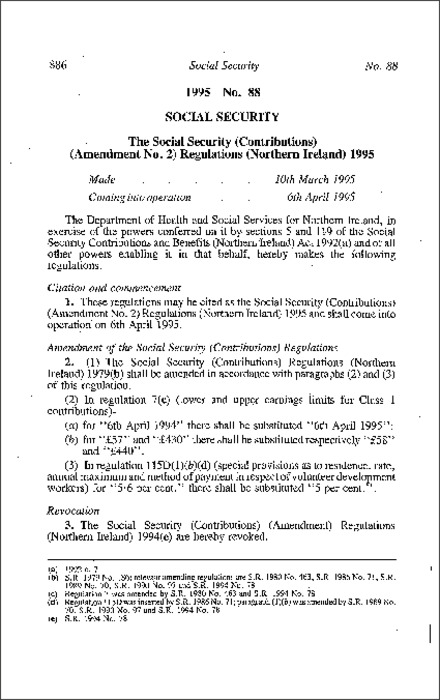 The Social Security (Contributions) (Amendment No. 2) Regulations (Northern Ireland) 1995