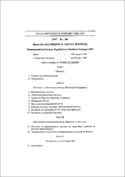 Pharmaceutical Services Regulations (Northern Ireland) 1997