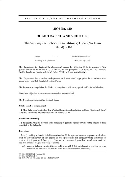 The Waiting Restrictions (Randalstown) Order (Northern Ireland) 2009