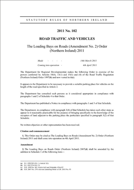 The Loading Bays on Roads (Amendment No. 2) Order (Northern Ireland) 2011