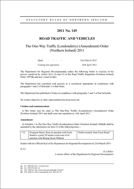 The One-Way Traffic (Londonderry) (Amendment) Order (Northern Ireland) 2011