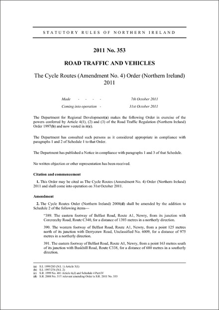 The Cycle Routes (Amendment No. 4) Order (Northern Ireland) 2011