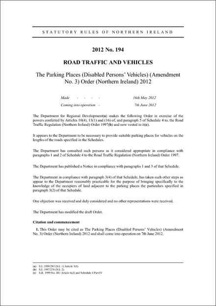 The Parking Places (Disabled Persons' Vehicles) (Amendment No. 3) Order (Northern Ireland) 2012