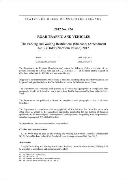 The Parking and Waiting Restrictions (Strabane) (Amendment No. 2) Order (Northern Ireland) 2012