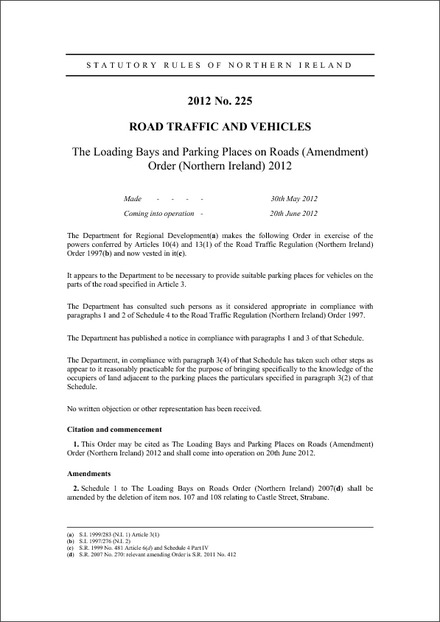 The Loading Bays and Parking Places on Roads (Amendment) Order (Northern Ireland) 2012