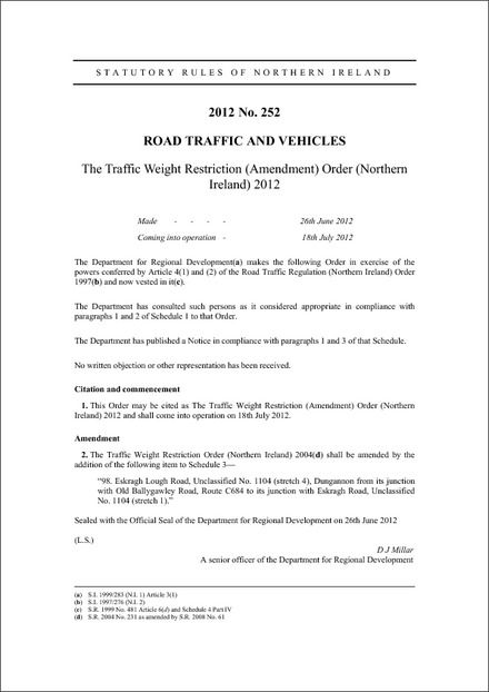 The Traffic Weight Restriction (Amendment) Order (Northern Ireland) 2012
