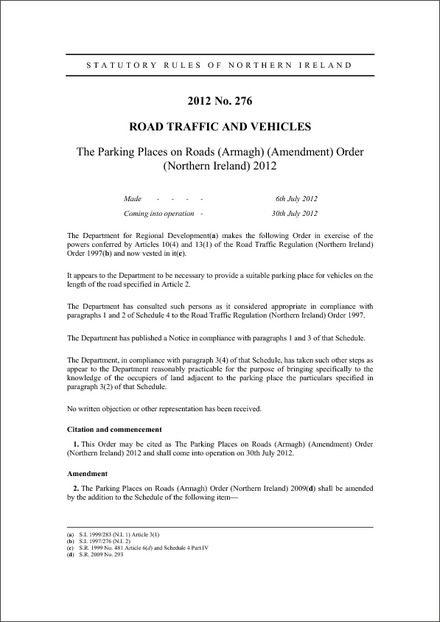 The Parking Places on Roads (Armagh) (Amendment) Order (Northern Ireland) 2012