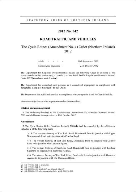 The Cycle Routes (Amendment No. 4) Order (Northern Ireland) 2012