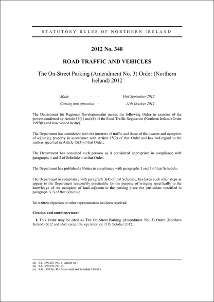 The On-Street Parking (Amendment No. 3) Order (Northern Ireland) 2012