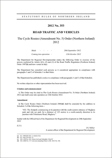 The Cycle Routes (Amendment No. 5) Order (Northern Ireland) 2012