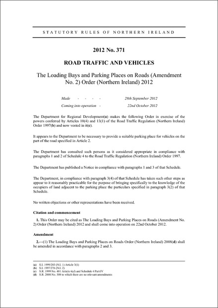 The Loading Bays and Parking Places on Roads (Amendment No. 2) Order (Northern Ireland) 2012