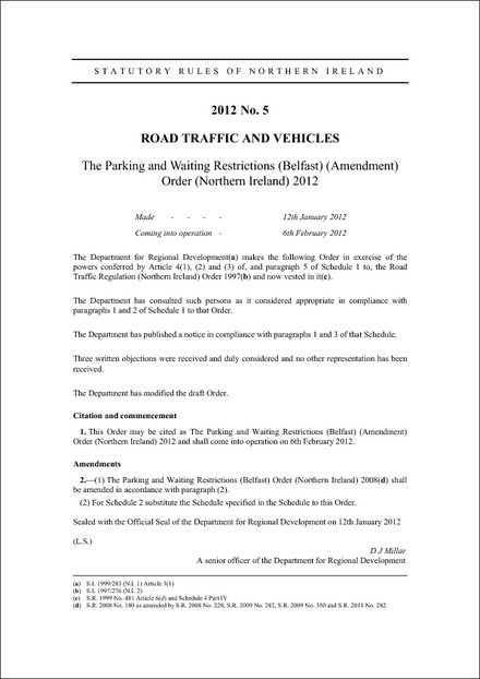 The Parking and Waiting Restrictions (Belfast) (Amendment) Order (Northern Ireland) 2012
