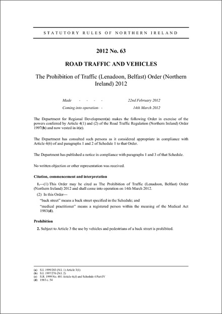 The Prohibition of Traffic (Lenadoon, Belfast) Order (Northern Ireland) 2012