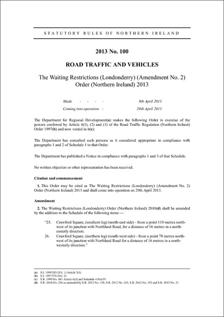 The Waiting Restrictions (Londonderry) (Amendment No. 2) Order (Northern Ireland) 2013