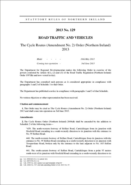 The Cycle Routes (Amendment No. 2) Order (Northern Ireland) 2013