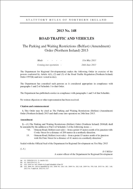 The Parking and Waiting Restrictions (Belfast) (Amendment) Order (Northern Ireland) 2013