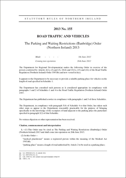 The Parking and Waiting Restrictions (Banbridge) Order (Northern Ireland) 2013