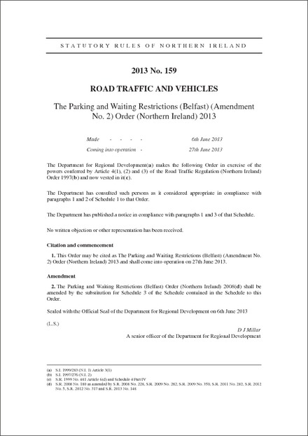 The Parking and Waiting Restrictions (Belfast) (Amendment No. 2) Order (Northern Ireland) 2013