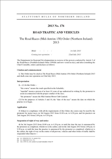 The Road Races (Mid-Antrim 150) Order (Northern Ireland) 2013