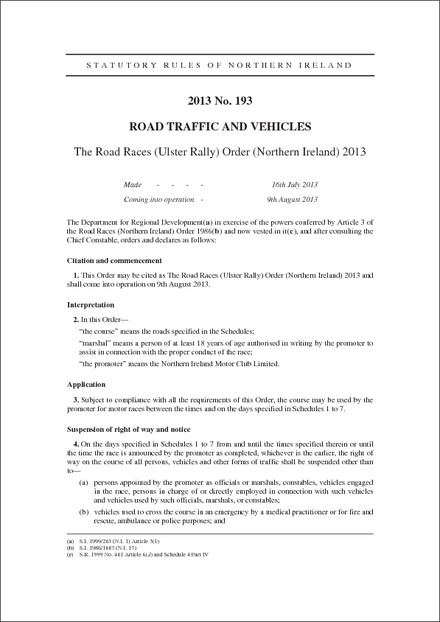 The Road Races (Ulster Rally) Order (Northern Ireland) 2013