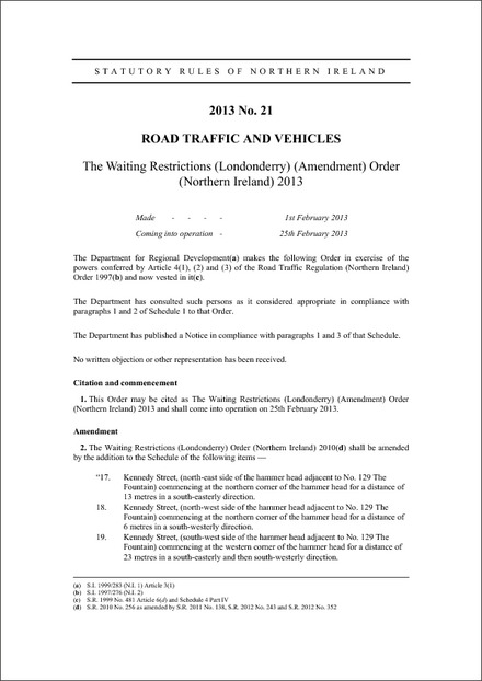 The Waiting Restrictions (Londonderry) (Amendment) Order (Northern Ireland) 2013