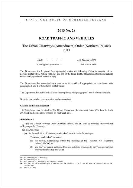 The Urban Clearways (Amendment) Order (Northern Ireland) 2013