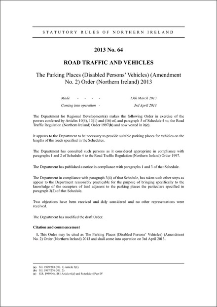 The Parking Places (Disabled Persons' Vehicles) (Amendment No. 2) Order (Northern Ireland) 2013