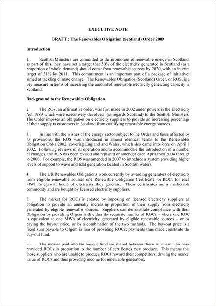 The Renewables Obligation (Scotland) Order 2009 - Draft Executive Notes