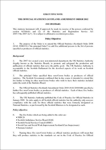 The Official Statistics (Scotland) Amendment Order 2012 - Draft