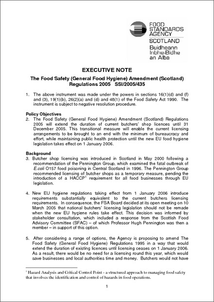 The Food Safety General Food Hygiene Amendment Scotland