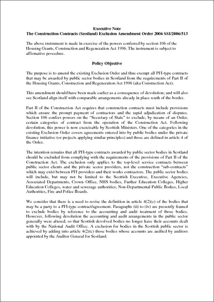 The Construction Contracts Scotland Exclusion Amendment Order 2006