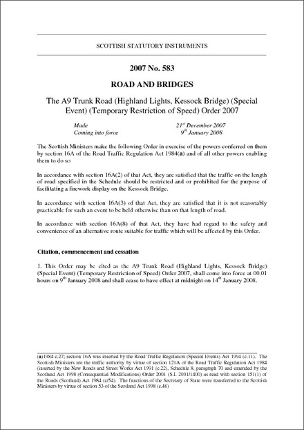 The A9 Trunk Road (Highland Lights, Kessock Bridge) (Special Event) (Temporary Restriction of Speed) Order 2007