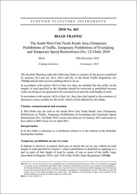 The South West Unit Trunk Roads Area (Temporary Prohibitions of Traffic, Temporary Prohibitions of Overtaking and Temporary Speed Restrictions) (No. 12) Order 2010