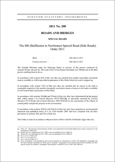 The M8 (Baillieston to Newhouse) Special Road (Side Roads) Order 2011