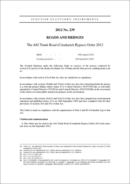 The A82 Trunk Road (Crianlarich Bypass) Order 2012