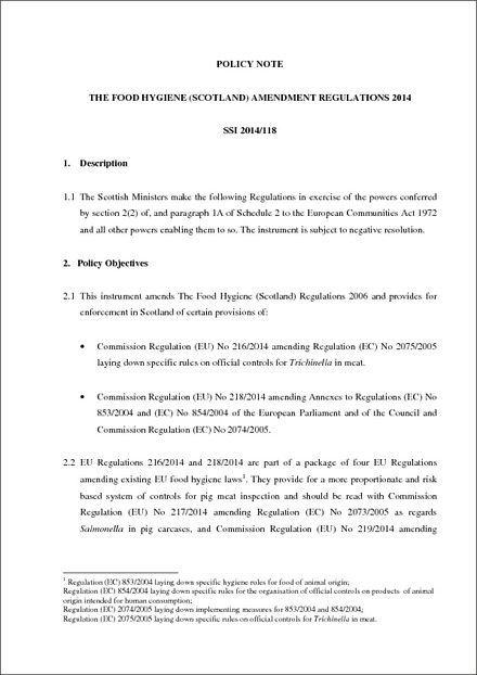 The Food Hygiene Scotland Amendment Regulations 2014
