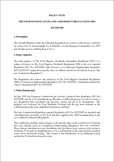 The Food Hygiene Scotland Amendment Regulations 2016