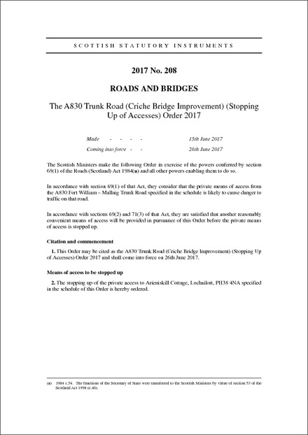The A830 Trunk Road (Criche Bridge Improvement) (Stopping Up of Accesses) Order 2017