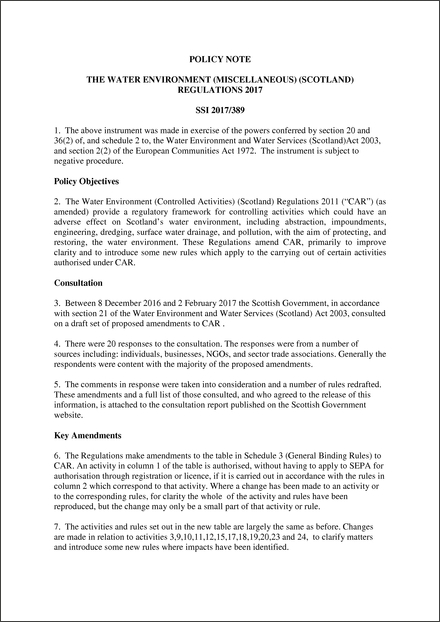 The Water Environment (Miscellaneous) (Scotland) Regulations 2017