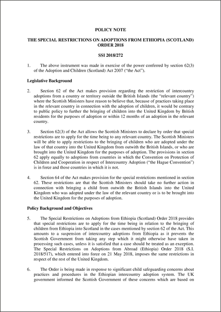 The Special Restrictions on Adoptions from Ethiopia (Scotland) Order