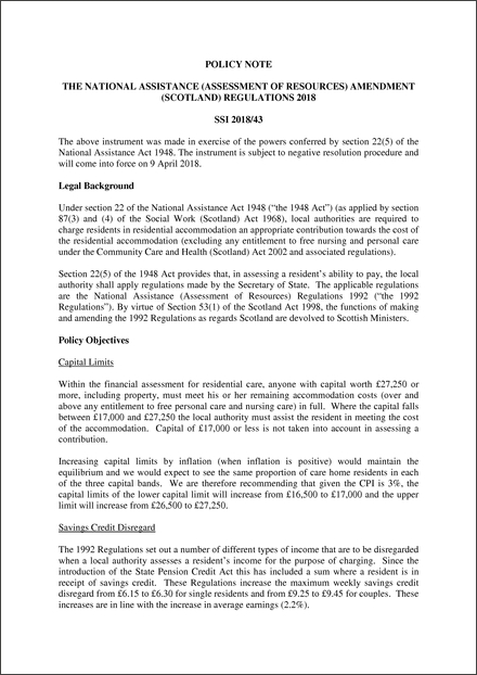 The National Assistance (Assessment of Resources) Amendment