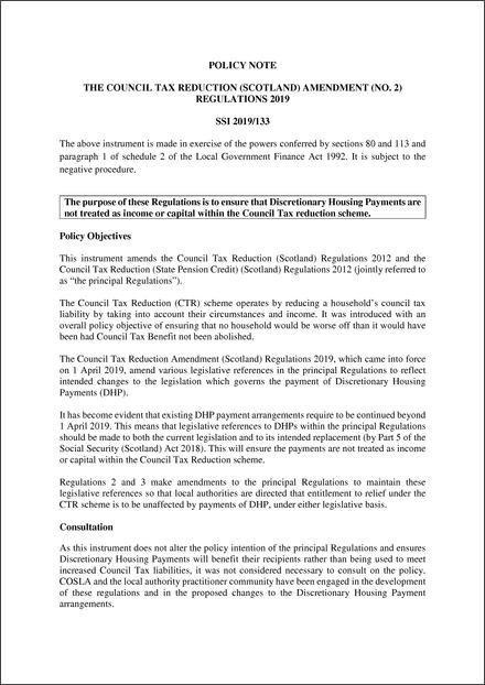 05752489 The Council Tax Reduction (Scotland) Amendment (No. 2) Regulations ...