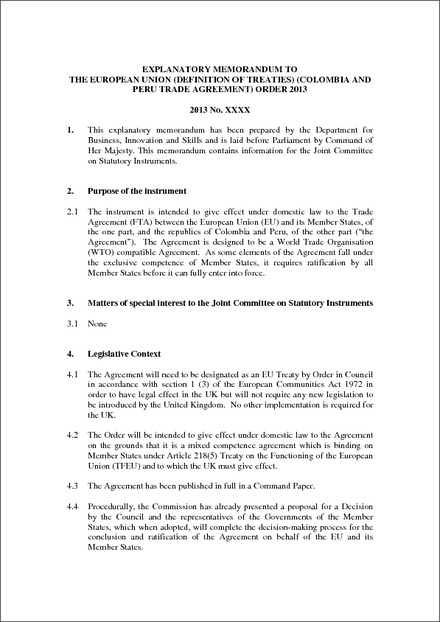 Explanatory Memorandum To The European Union Definition Of Treaties