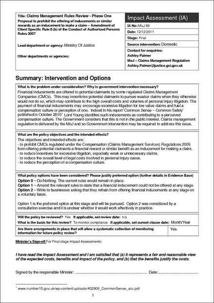 View PDF MoJ Impact Assessment Template (Guidance Only)  Impact Assessment Template